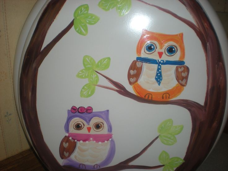 Hand painted owls in a tree standard toilet seat