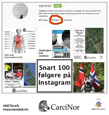 Følg og lik @carcinor på #Instagram! Vi har snart 100 følgere! #NETkreft #NETcancer #NETcancerawareness #nevroendokrin #neuroendocrine https://www.instagram.com/carcinor/
