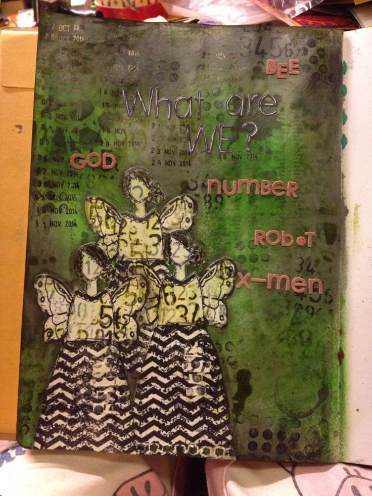 What are we? (Background: Dylusions/ Tim Holtz)