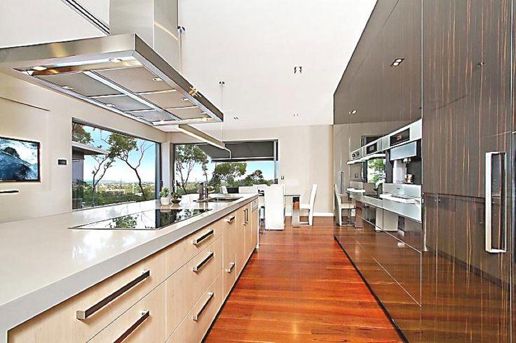 Architecture, Architecture Home Interior Design Contemporary Kitchen Island Cabinet Wooden Floor Glass Door Sliding Door Hang Flat Screen Tv...