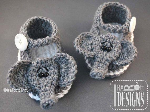 CROCHET PATTERN Jeffery the Elephant Double Sole Baby Booties Crochet Pattern PDF with Instant Download