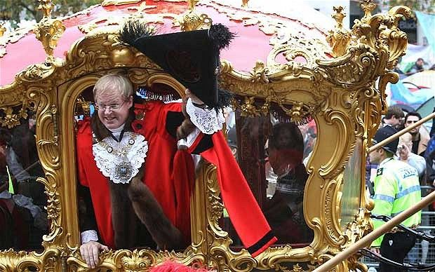 2011-12 Lord Mayor of London, Alderman David Wootton, waves to the crowd
