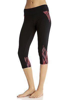 Medium, Pink - Pink Sapphire/Black, Marika Women's Capri Leggings