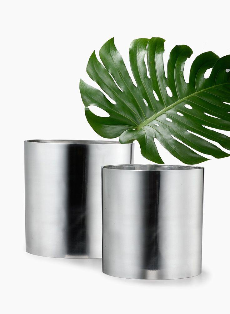 Round Polished Aluminum Shiny Metal Flower Vase Modern Unique Wedding Decorations Hotel Building