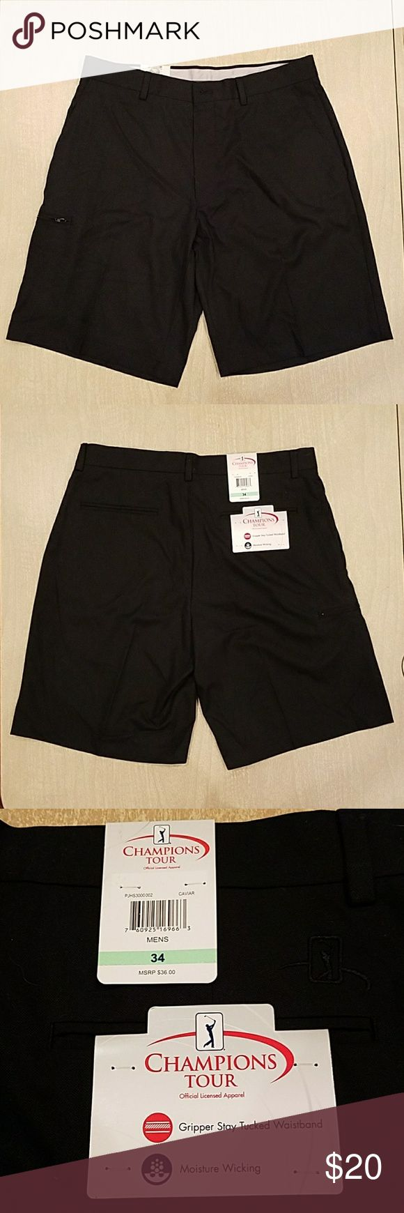 """NWT CHAMPIONS Tour PGA Golf Shorts Black Size 34 Champions Tour PGA Golf Shorts  Size 34 Black """"Caviar"""" Excellent Brand New With Tags Gripper Stay Tucked Waistband Moisture Wicking Official Licensed Apparel authentic Two side pockets, one leg side pocket with zipper and two back pockets Champion Shorts Flat Front"""