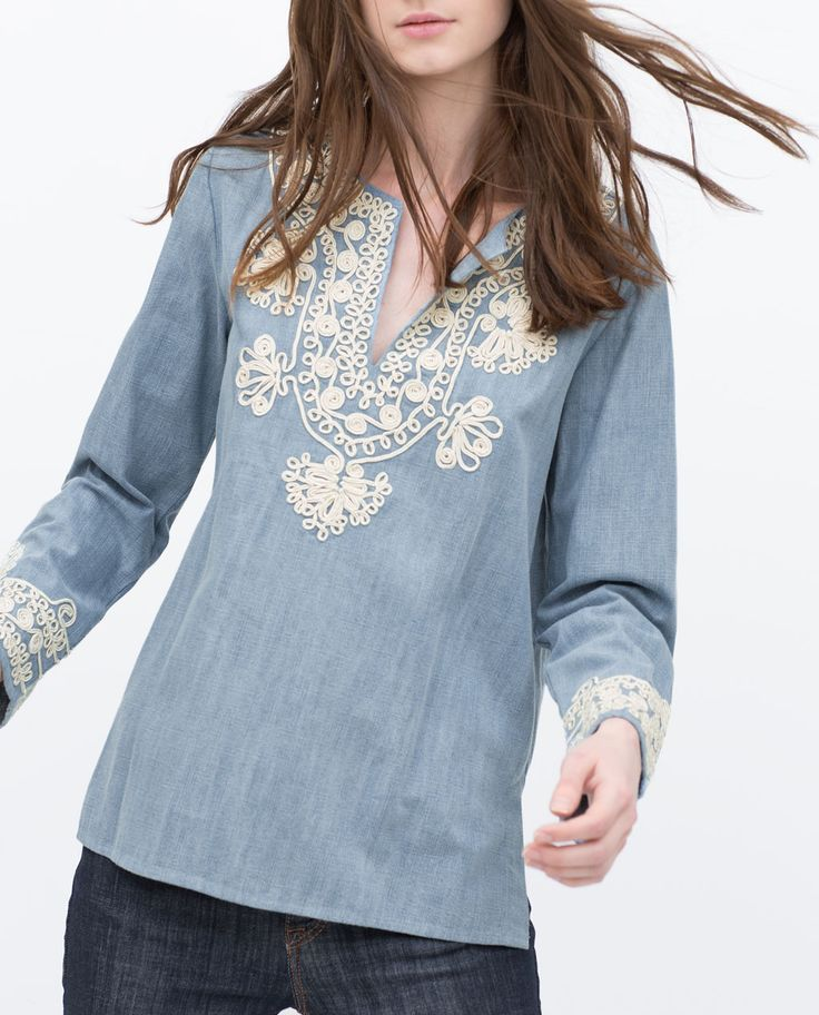 Image 3 of EMBROIDERED DENIM BLOUSE from Zara