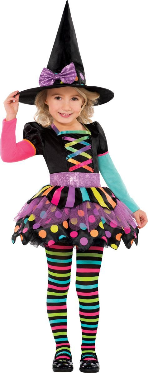 Toddler Girls Miss Matched Witch Costume - Party City