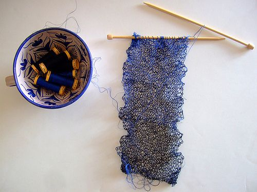 knitting with sewing thread!  lovely, but requires patience that I just don't have...