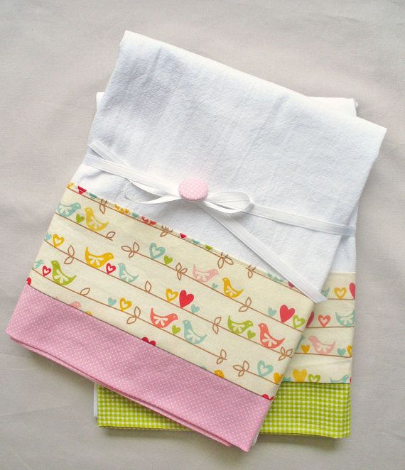 Kitchen towel with love birds pink and by SeamlessExpressions
