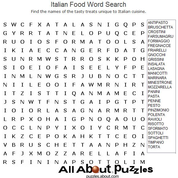 Food and Drink Word Search Games: Italian Food Word Search