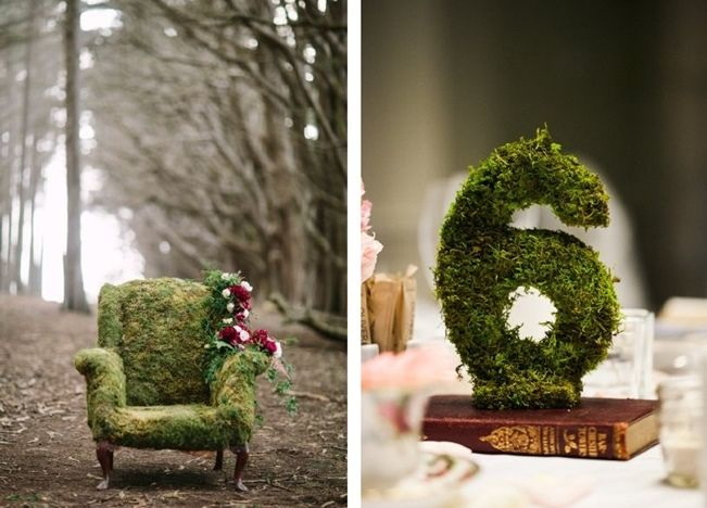 Moss Décor Ideas For A Nature Inspired Wedding   Moss Covered Chair And  Table Numbers Great Ideas
