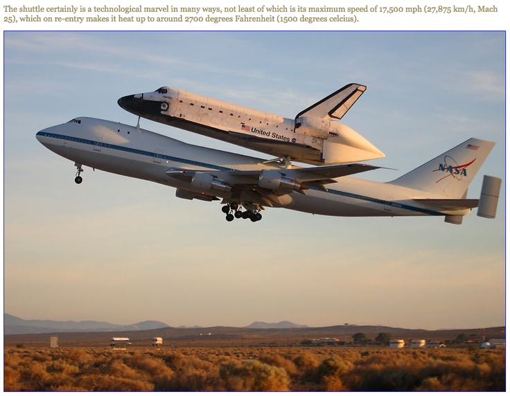 piggy back ride Space shuttle | Sky high | Pinterest