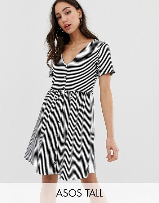 630a9a5e933a8 DESIGN Tall mini v neck button through smock dress in stripe in 2019 | My  Style | Dresses, Smock dress, Smocking