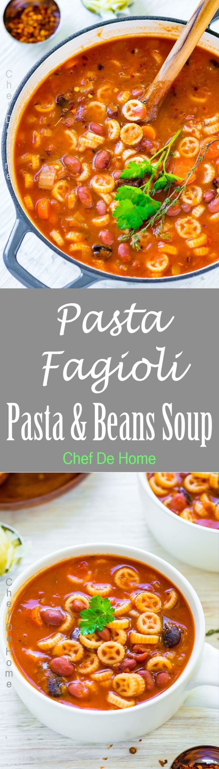 Pasta e Fagioli Soup -Pasta e Fagioli Soup - Vegetarian pasta and beans soup, all prepared in one pot.