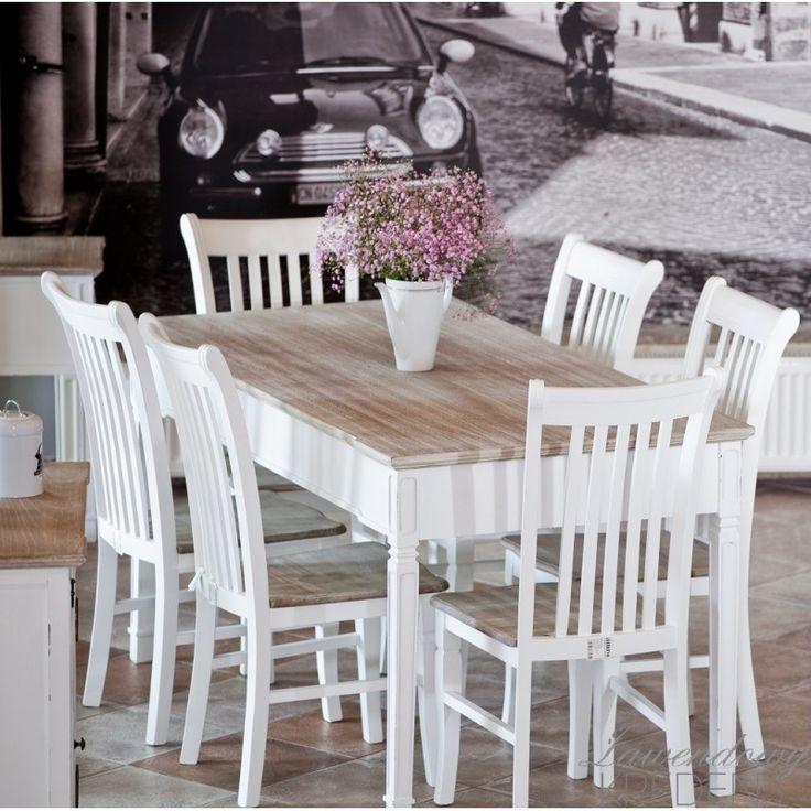 Stół w stylu prowansalskim Palida Aluro o rzeźbionych nogach o brązowym blacie. Stół dostępny na http://lawendowykredens.pl/pl/116-meble-aluro