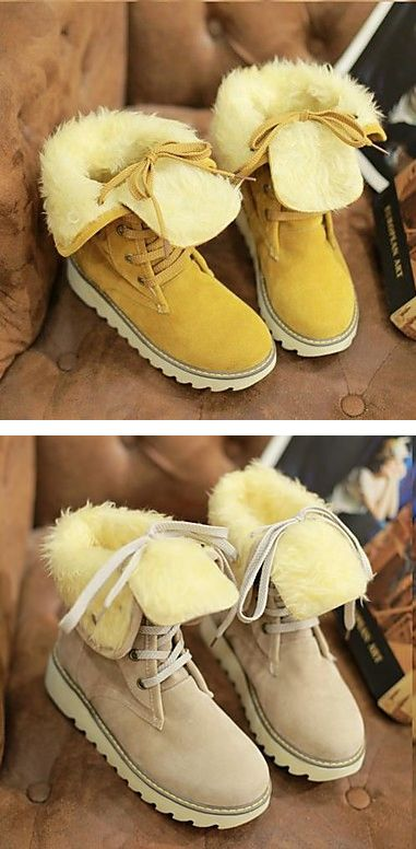 Casual sporty round toe warm winter faux fur boots for women at just $23.09. Find them in brown, yellow, black, beige colors. Enjoy up to 85% OFF.