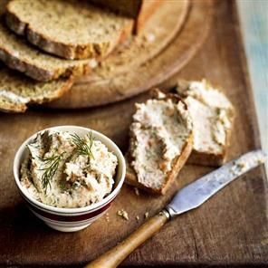 Smoked salmon, cream cheese and dill pâté with caraway soda bread. This pâté is also wonderful made with flaked hot-smoked mackerel, but make sure you remove and discard all the skin and any tiny bones before using.