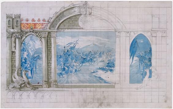 Jorge Colaço | Estudo para painel de Azulejos / Study for azulejos panel | 1900-1925 | MNAz Inv. nº 28527 TC #Azulejo #JorgeColaço #MNAz