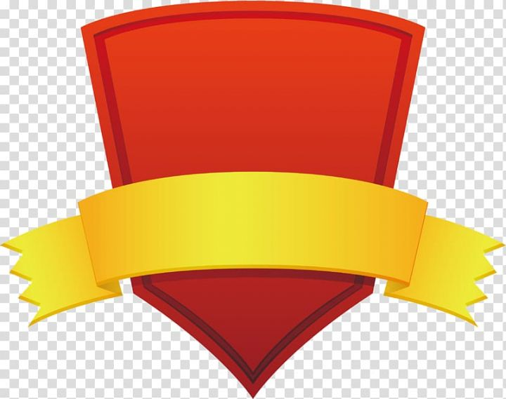 Yellow And Red Ribbon Banner Red Shield Red Shield Title Box Transparent Background Png Clipart Red Shield Ribbon Banner Game Logo Design