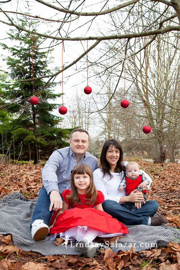 Cute and easy idea for a family Christmas card photo. Helpful tip - make sure to use a ribbon that will be visible in the photo so the ornaments don't look like they're floating. For other fun ideas, follow me on Instagram http://instagram.com/lindsay_salazar_photography or my website LindsaySalazar.com