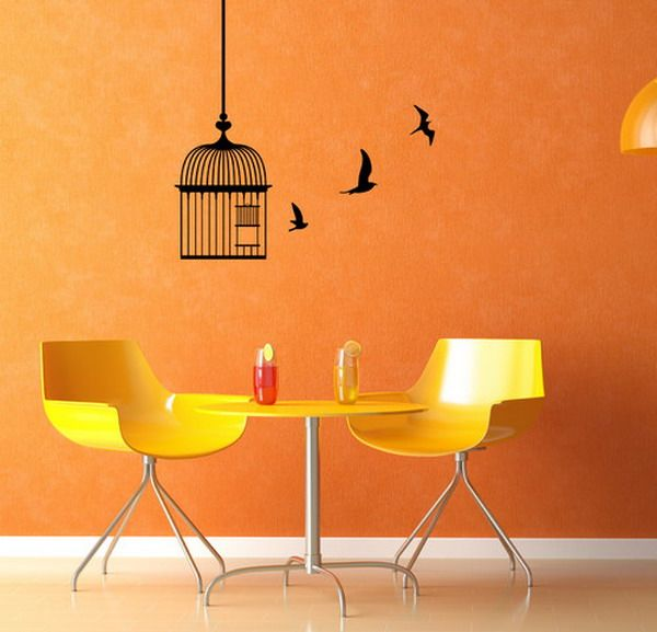 Cheap Wall Decals -  Modern Birds Cage Dining Room Wall Decals Ideas Installing Birds Cage Wall Decals for Home Design #walldecals #walldecors #wallarts #wallstickers
