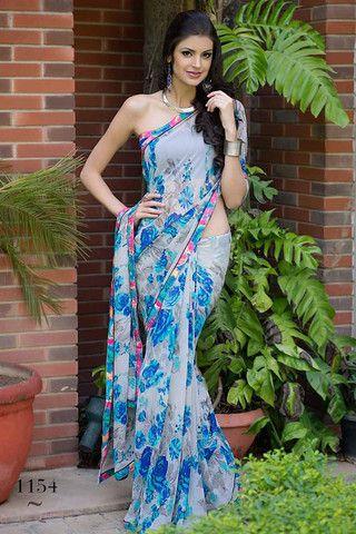 White with Blue flower Tamnna Printed Saree