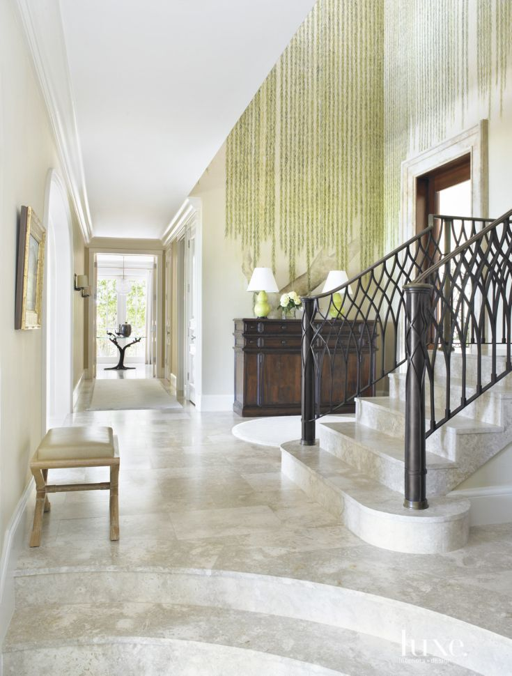 Traditional Foyer Xl : Traditional white foyer with hand painted willow motif