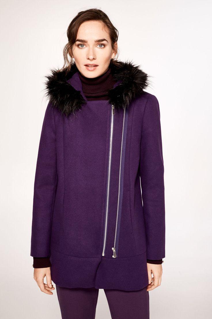 J2017  Cortefiel Duffle coat with fur hood Pink