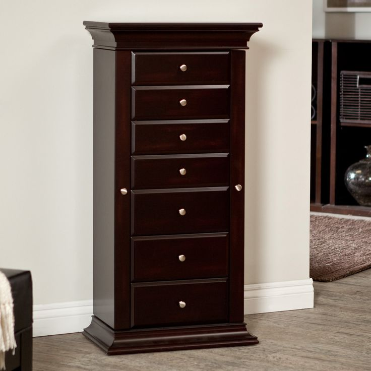 Belham living harper espresso jewelry armoire whether for Solid wood jewelry armoire mirror