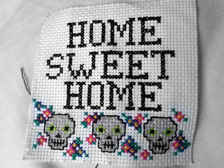Artsy fartsy sugar skull cross stitch home sweet