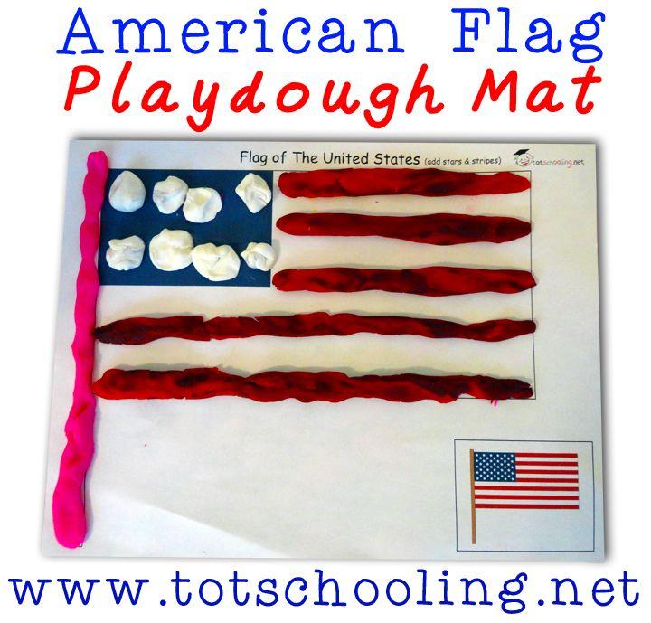 Free American Flag Playdough Mat from Totschooling