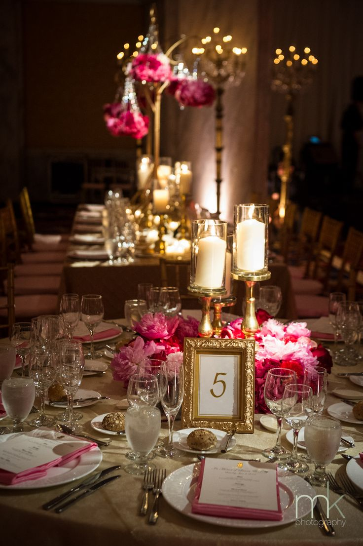 Beautiful Blooms - Ritz Carlton Philadelphia Pink and Gold Wedding Pillar Candle Wreath Centerpiece