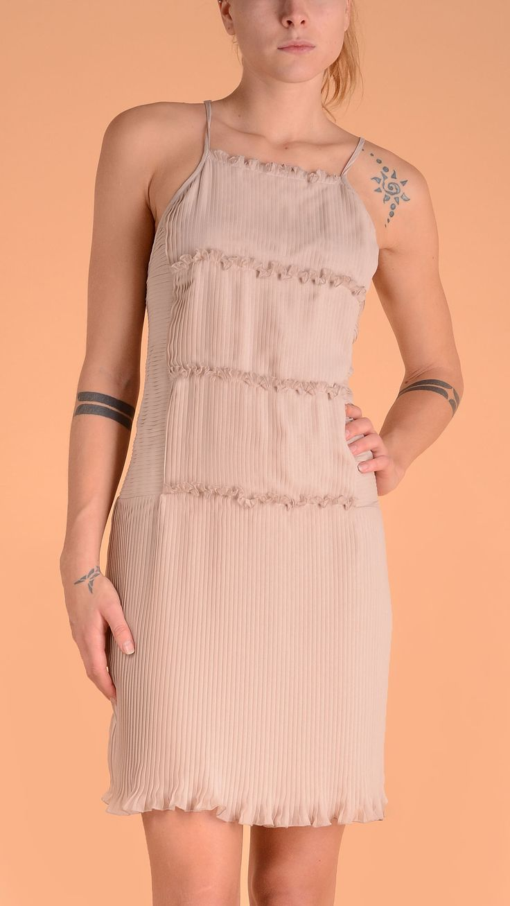 Atos Lombardini Nude colour pleated dress with straps, ruffle details