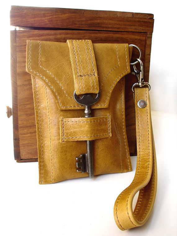 Leather iPhone Cell Case with Antique Key and Wrist Strap - Honeysuckle Tan - iPhone 5 - Blackberry