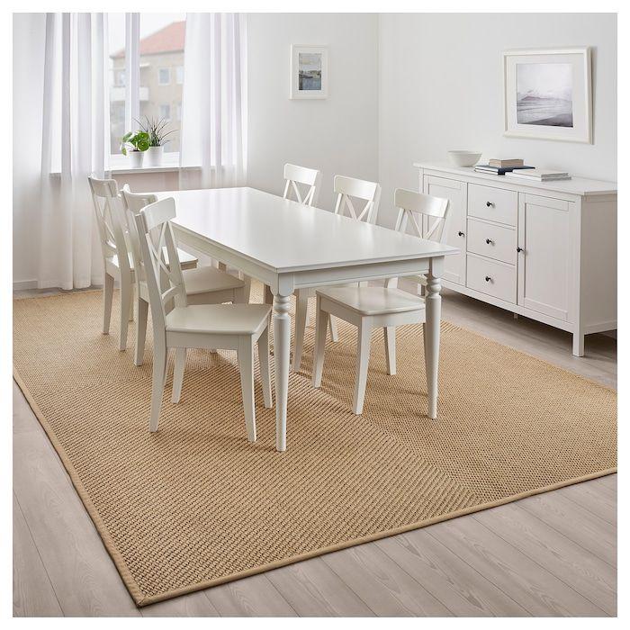Hellested Teppich Flach Gewebt Natur Braun Ikea Osterreich Flatwoven Flat Woven Rug Rug Under Dining Table