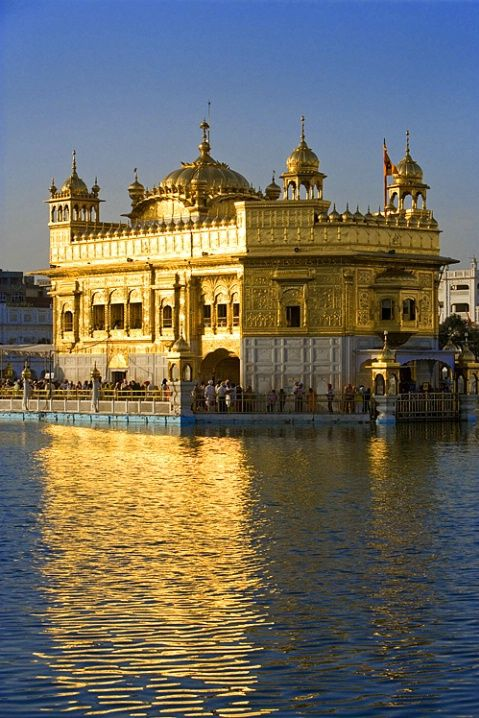 Sikh Golden Temple at sunset, Amritsar, Punjab, India