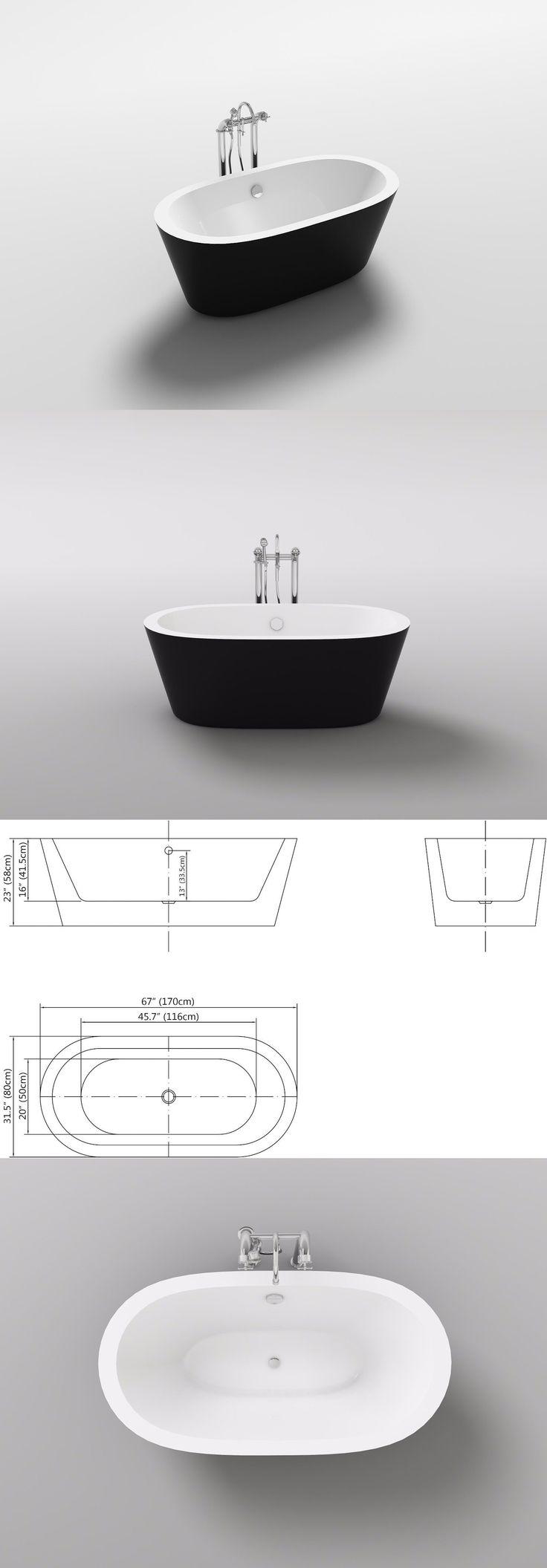 Bathtubs 42025: Kolding 67 Oval White Or Black Acrylic Bath Tub Freestanding Bathtub Soaker New -> BUY IT NOW ONLY: $879 on eBay!