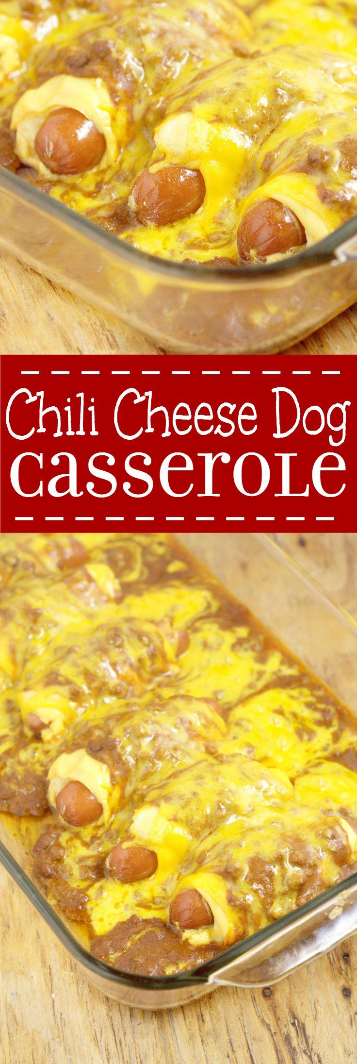 Chili Cheese Dog Casserole Recipe- A quick and easy family dinner idea recipe inspired by chili cheese dogs combined with the comfort and ease of a casserole. OMG. So cheesy!