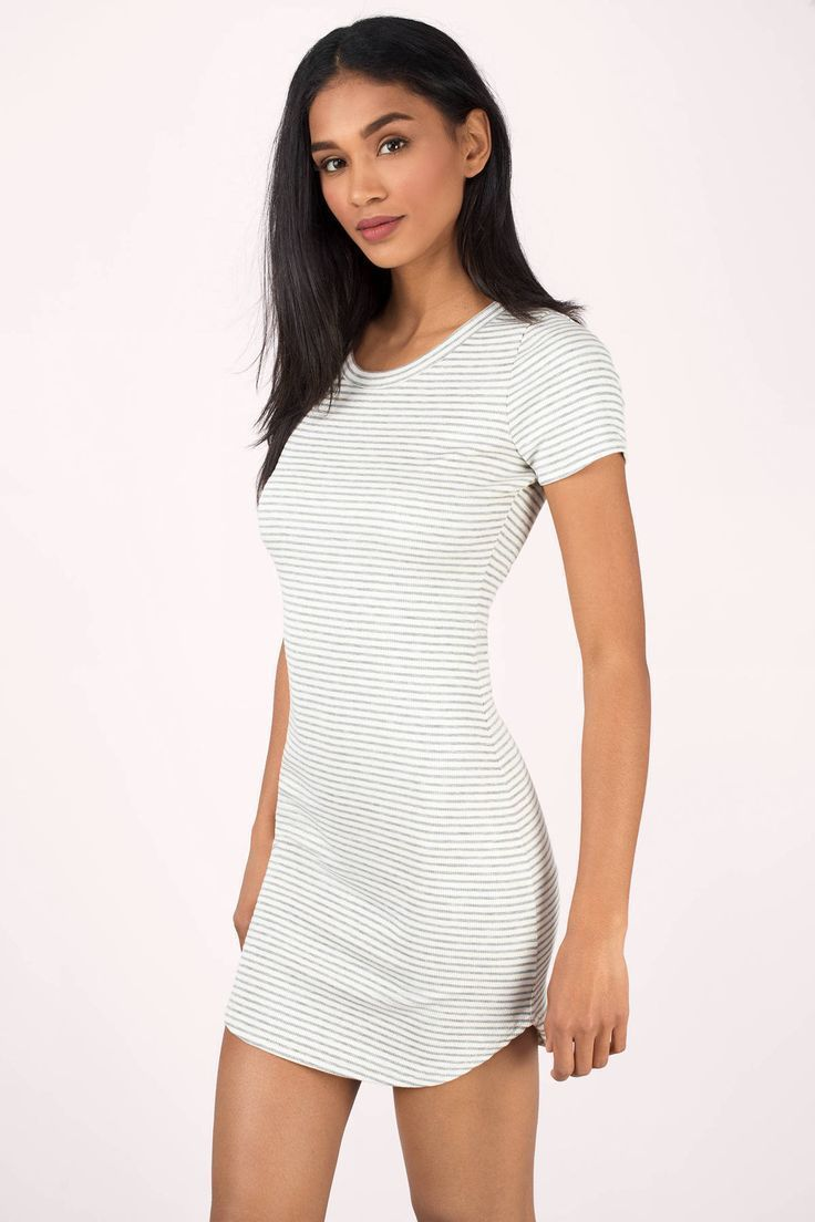 "Search ""Amelia White & Grey Striped Bodycon Dress"" on Tobi.com! tight form fitting t shirt dress kylie curved hem comfy ribbed knit cotton stretchy cap short sleeve light gray striped stripes grey mini dress minidress #ShopTobi #fashion #summer #spring #vacation Basic outfit simple easy chic fashionable stylish style fashion vacation travel essential capsule wardrobe must have casual comfy comfortable trendy spring summer shop buy cheap inexpensive ideas for women teens cute edgy closet fall"
