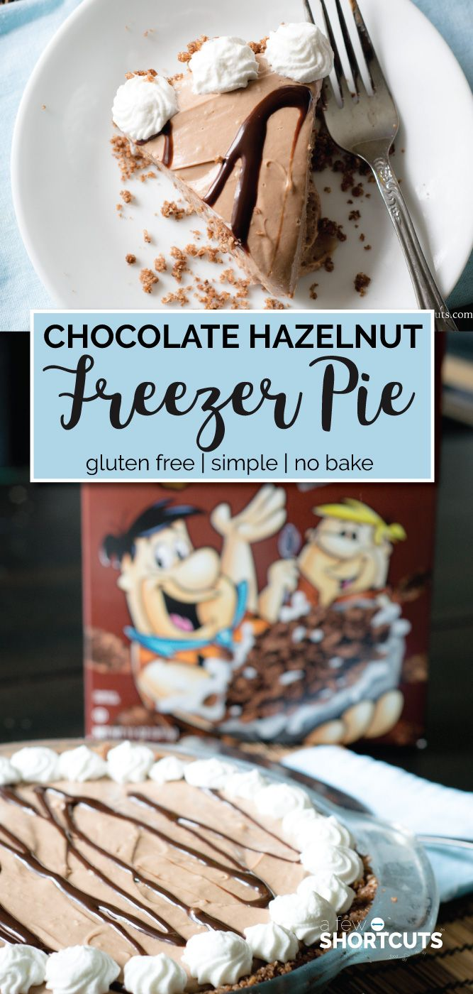 Decadent and simple! This is a must try Chocolate Hazelnut Freezer Pie with Cocoa Pebbles Crust Recipe! Only a few minutes to make and gluten free! #ad