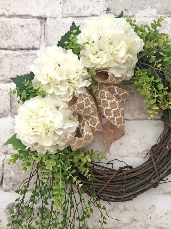 Witte Hydrangea krans voorjaar krans voordeur door AdorabellaWreaths