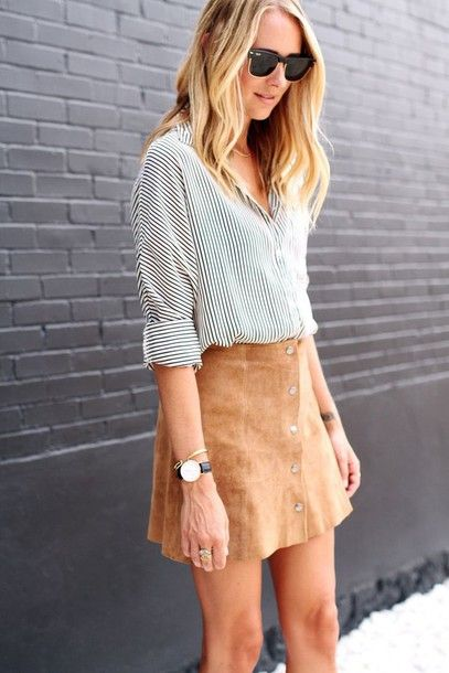Skirt: tumblr tan suede camel suede camel nude suede button up button up shirt…