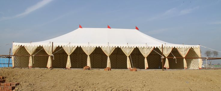 An Army parade tent pitched in the desert
