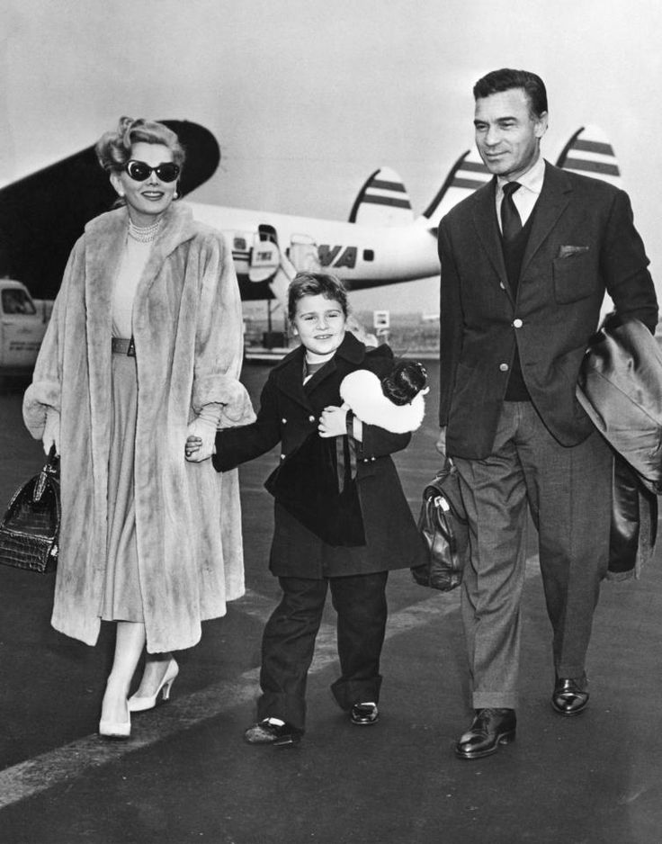 Zsa Zsa Gabor pictured with her daughter Francesca Hilton and playboy Porforio Rubirosa, estranged husband of Barbara Hutton
