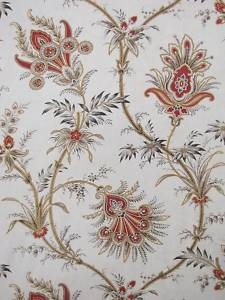 Antique French linen cotton Indienne fabric c1880 ~