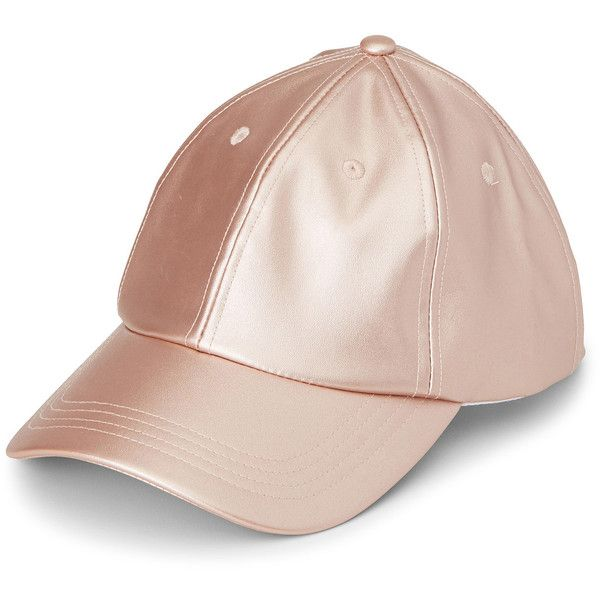 6d5ca56c270 Metallic pink baseball cap (52 BRL) ❤ liked on Polyvore featuring  accessories