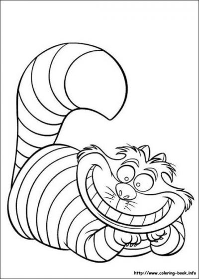 Cheshire Cat grin - printable coloring sheets