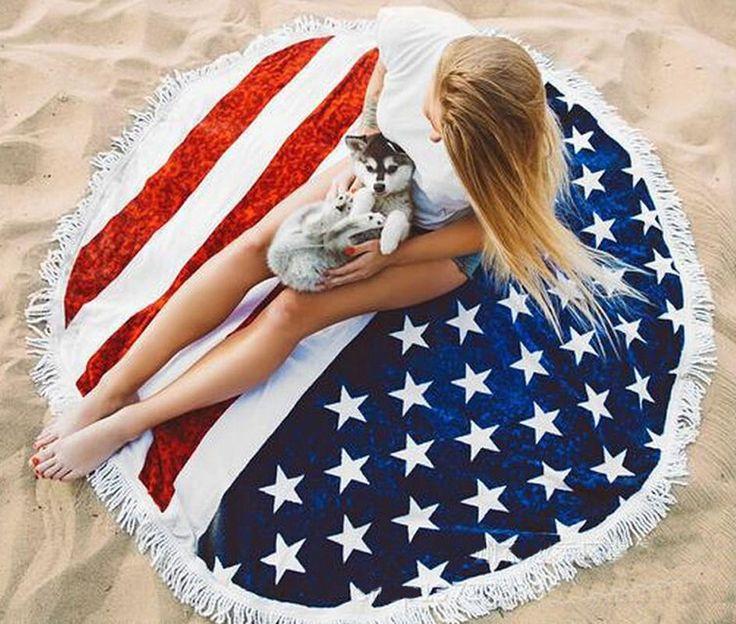 Women Fashion American Flag Beach Towel Fringed Round Cloak Sunscreen Clothing