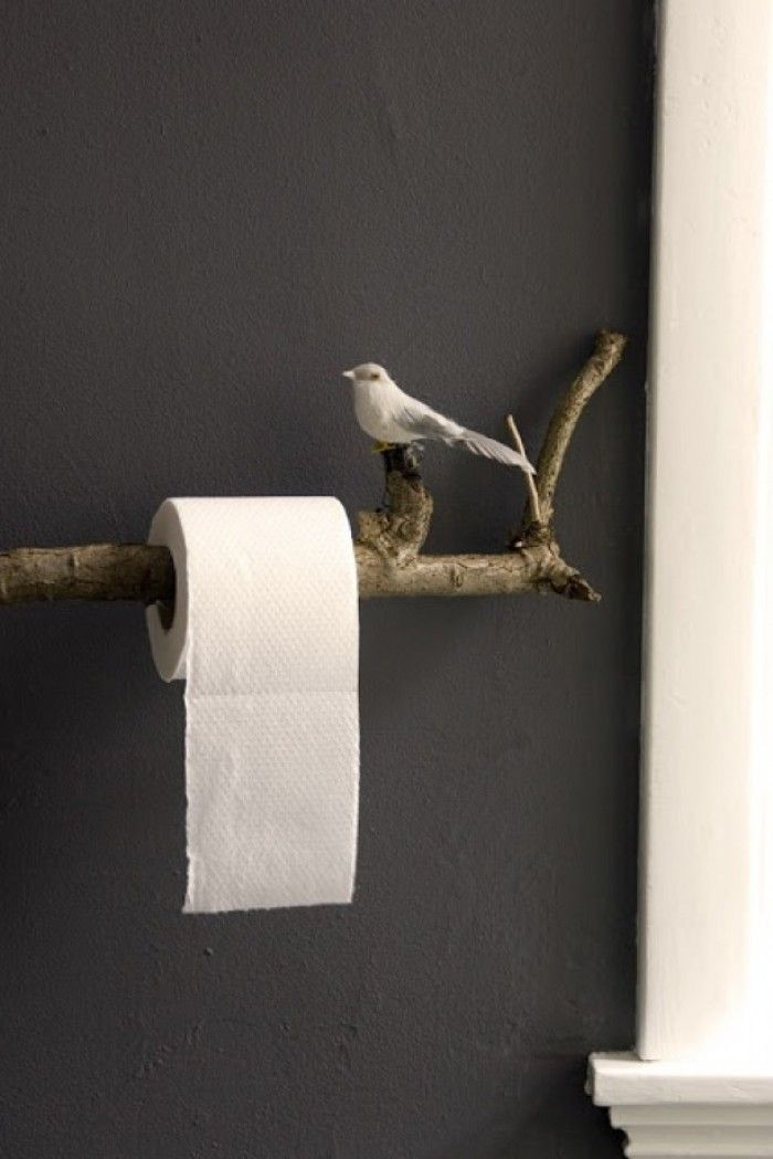 Tolle Idee für die Toilette. Mal etwas anderes als so ein langweiliger Toilettenpapier Halter