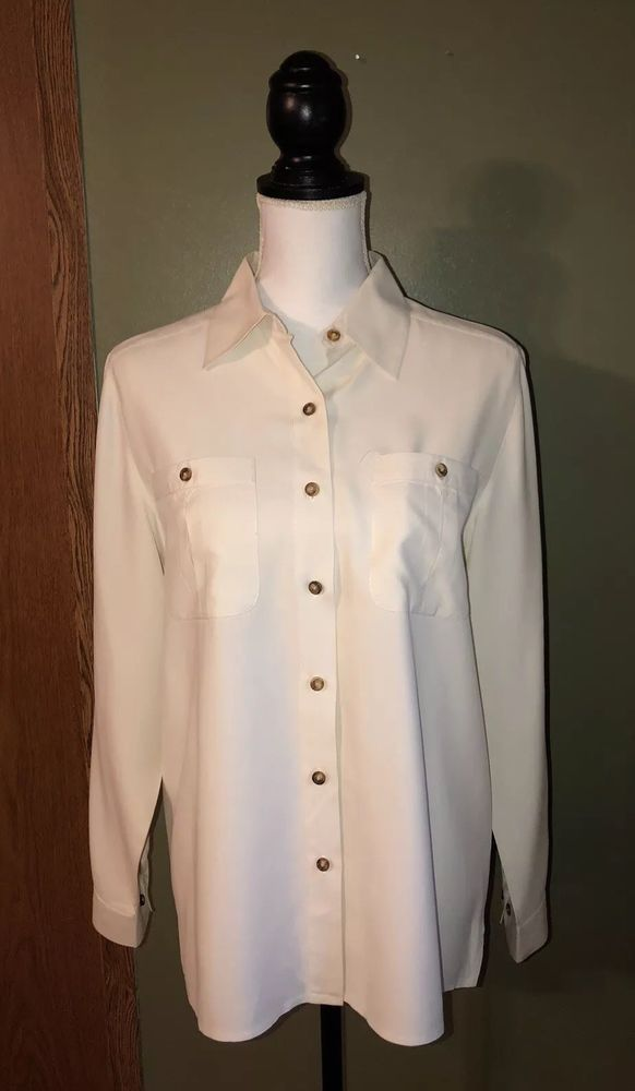 db74a845631f3 Orvis Womens 100% Silk Button Up Shirt Cream White Size Medium